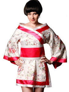 Attractive White And Red Satin Sexy Robe For Women