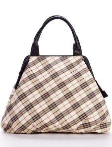 New Modern Yellow Checked PU Womens Tote Handbag