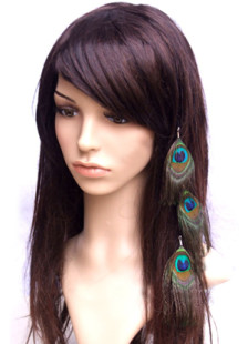 Pretty Blue Peacock Feather Alloy Satin Ribbon 33cm Womens Hair Extension