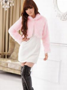 Pink Long Sleeves Short Pattern Artificial Rabbit Hair Womens Fur Jackets