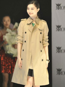 Apricot Full Length DoubleBreasted Terylene Cotton Womens Trench Coat