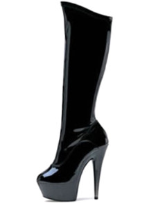 Black 5 710 High Heel 1 710 Platform Light Patent Leather Womens Sexy Boots