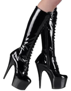 Black LaceUp 5 710 High Heel 1 710 Platform Patent Leather Womens Sexy Boots