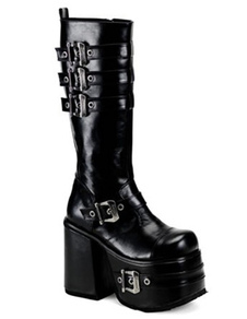 Black 5 310 High Heel 2 Platform Light Patent Leather Buckles Womens Sexy Boots
