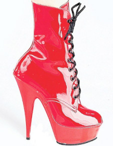 Red 5 710 High Heel 1 35 Platform Light Patent Leather LaceUp Womens Sexy Boots