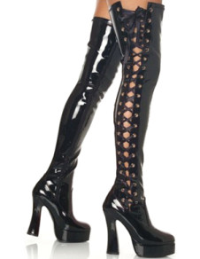 Black 5 710 High Heel 1 710 Platform Side LaceUp Patent Leather Sexy Boots For Women