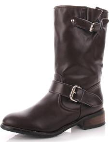 Milanoo UK  Trendy Coffee Cow Leather PU Womens Mid Calf Boots