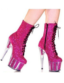 Pink 5 710 High Heel 1 710 Platform LaceUp Patent Leather Womens Sexy Boots