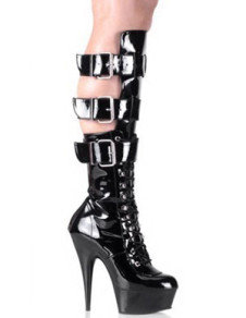 Fashion Black 5 710 High Heel 1 710 Platform Buckles Patent Leather Womens Sexy Boots