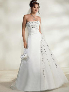 Bridal Wear & Accessories|Dresses & Skirts White Rococo Strapless A-line Satin Lace Wedding Dress