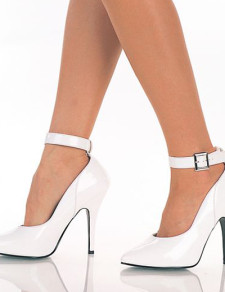 Image of Women White Shoes Pointed Toe Ankle Strap High Heels Sexy Shoes