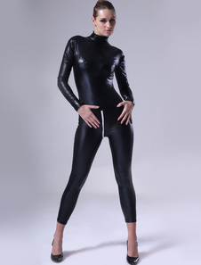 Black Women Shiny Metallic Catsuitt Halloween Cosplay costume