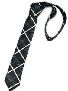 Image of Glamorous Black Check tinto in filo di seta Mens Ties