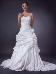 Robe de mariage A-ligne champagne en taffetas bustier traîne chapelle