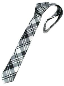 Image of Unique Black White Check tinto in filo di seta Mens Ties