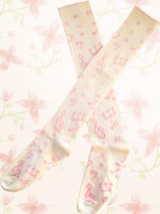 Lovely White Music Note Lolita Knee Stockings