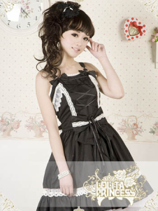 Beautiful Black Raffles Suspender 100% Cotton Lolita Sweet Dress