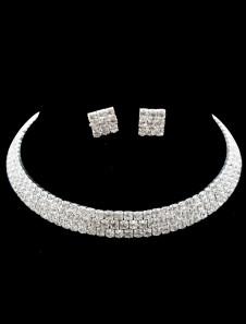 Ensemblede bijoux concis de mariage avec rhinestone