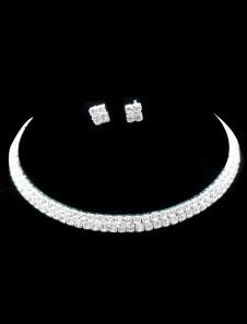 Boucles d'oreilles métal strass blanc et ensemble de bijoux de mariage collier