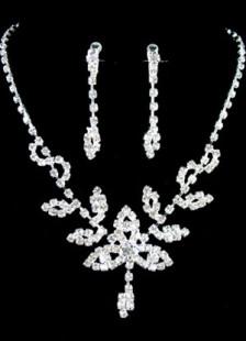 Ensemblede bijoux de pendentif feuille en rhinestone
