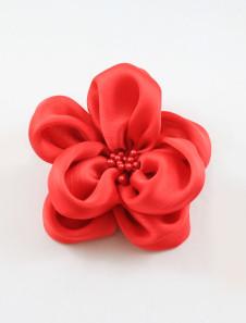 Broche nuptiale de mariage, fleur en tissu et imitation de perle, rouge