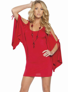 Modern Sexy Cool Red Acrylic Spandex Womens Club Dress
