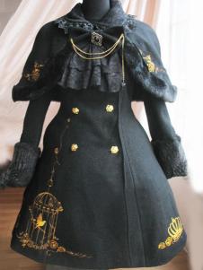 Milanoo UK  Fabulous Black Wool Birdcage Double-Breasted Lolita Coat