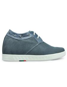 Altura de gris gamuza suela de goma masculino aumento de zapatos de moda