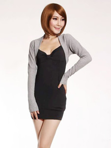 Black Gray Cotton Spandex Fake Two Piece Long Sleeves Mini Party Dress