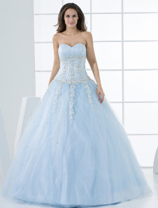 Grace Light Sky Blue Ball Gown Sweetheart Neck Quinceanera Dress