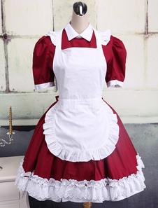 Image of Completo Lolita in cotone in rosso scuro e bianco con maniche co