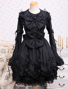 elegant-gothic-black-cotton-lolita-op-dress-long-sleeves-lace-trim-bows-ruffles