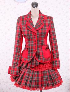 Image of Attrezzatura Lolita dolce rossa in cotone con maniche lunghe