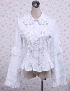Great Ribbon Long Sleeves Ruffles Cotton Lolita Blouse