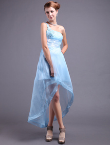 Tulle Homecoming Dress Baby Blue A line One Shoulder High Low Rhinestone  Prom Dress