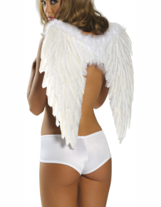Sexy White Acrylic Feather Wings Angel Costume