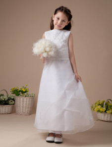 A-line Embroidery Satin Organza First Communion Dress