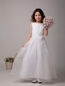 A-line White Bateau Neck Bow Ankle-Length First Communion Dress