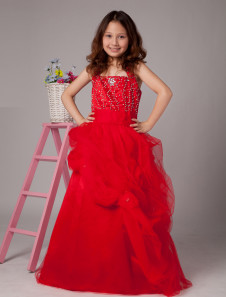 Ball Gown FloorLength Red Tulle Girls Pageant Dresses