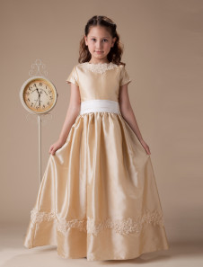 Short Sleeves Embroidery Sash Taffeta Flower Girl Dress