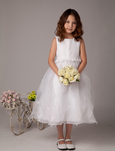 Sweet White A-line Satin First Communion Dress