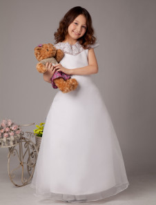 White A-line Zip Closure Satin First Communion Dress