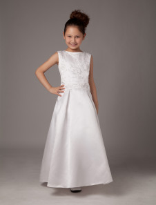 Grace A-line White Satin Ankle-Length First Communion Dress