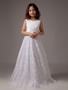 White Floor Length A-line Satin Round Neck First Communion Dresses