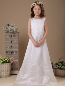 White Floor Length Zip Closure Satin First Communion Dress