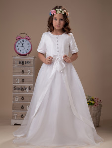 White Half Sleeves Round Neck Satin First Communion Dress