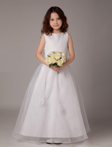 Sweet A-line White Satin Ankle-Length First Communion Dresses