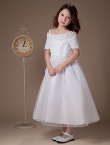 Sweet A-line White Satin Tea-Length First Communion Dresses