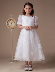 White Round Neck Short Sleeves Satin First Communion Dress