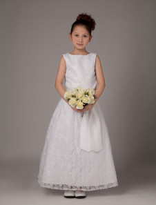 White Sash Satin First Communion Dress